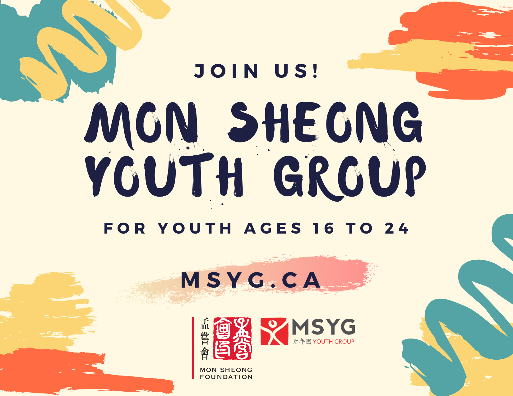 Join us! Mon Sheong Youth Group for youth ages 16 to 24