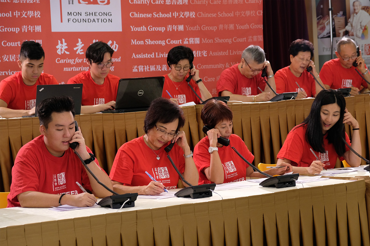 Volunteers pick up phone calls at Mon Sheong Telethon